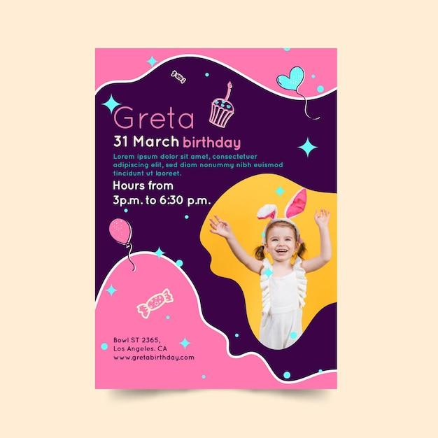Kinder verjaardag flyer verticaal Premium Vector