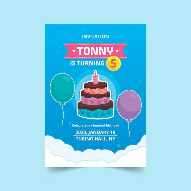 Kinder verjaardagskaart met cake en ballonnen Gratis Vector