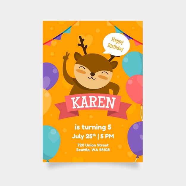 Kinder verjaardagskaart ontwerpsjabloon Gratis Vector