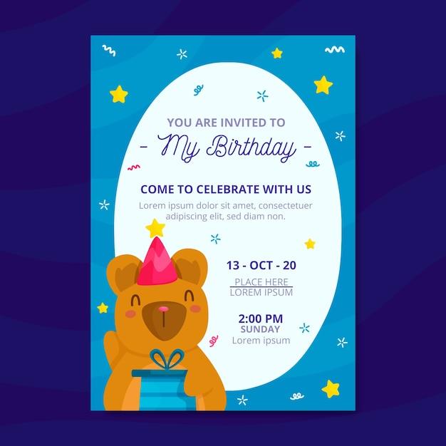 Kinder verjaardagsuitnodiging met beer sjabloon Gratis Vector