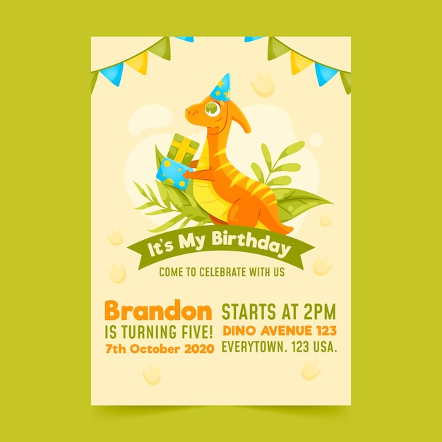 Kinder verjaardagsuitnodiging met dinosaurus sjabloon Gratis Vector