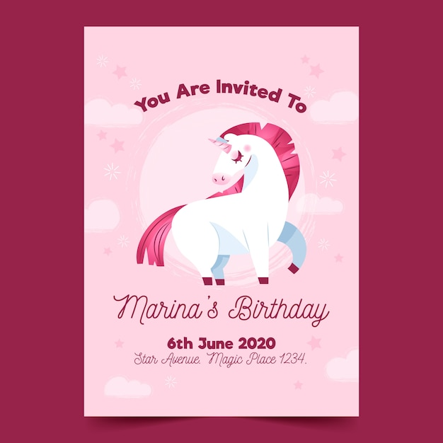 Kinder verjaardagsuitnodiging met eenhoorn sjabloon Gratis Vector