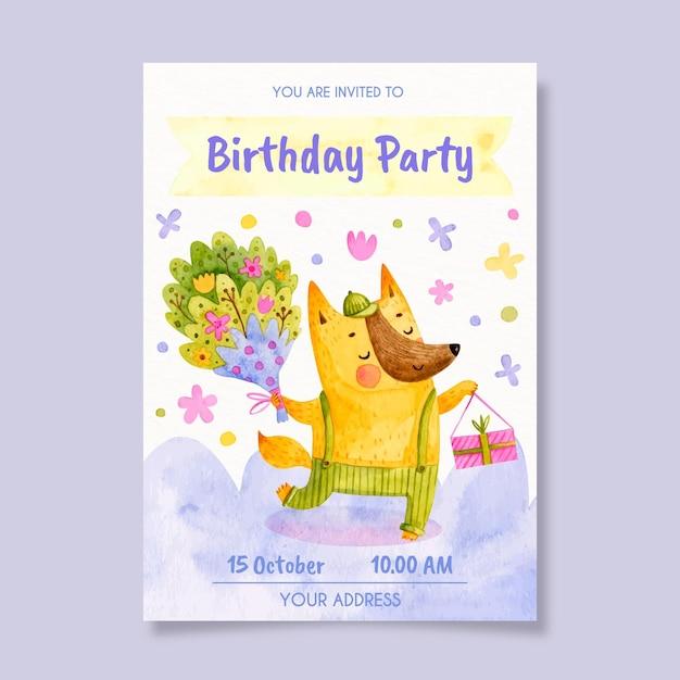 Kinder verjaardagsuitnodiging sjabloon met dier Gratis Vector