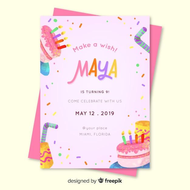 Kinder verjaardagsuitnodiging voor meisje sjabloon Gratis Vector