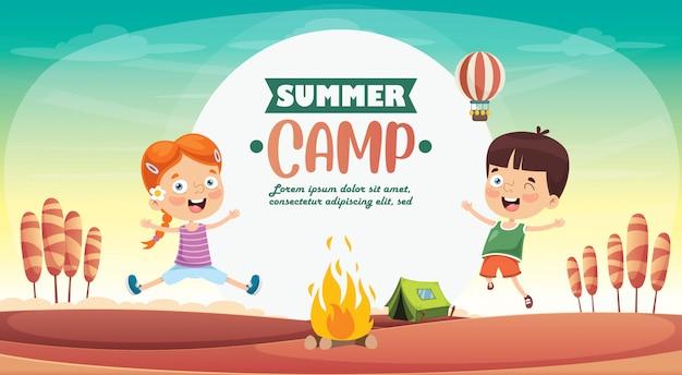Kinder zomerkamp Premium Vector