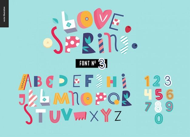 Kinderachtig platte alfabet lettertype Premium Vector