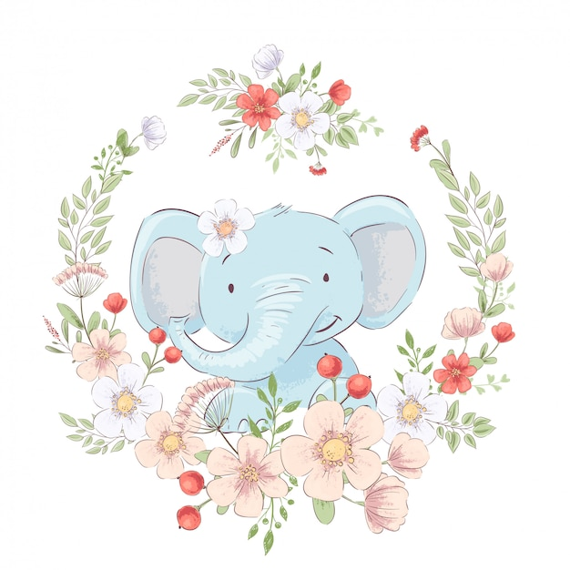 Kinderachtige illustratie van schattige kleine olifant in een krans van bloemen. handtekening. vector Premium Vector