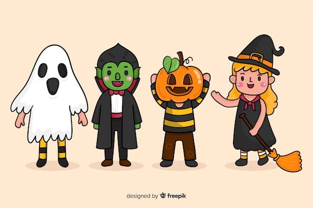 Kinderachtige tekeningen van halloween-personages Gratis Vector