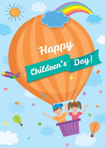 Kinderdag ballon tempel Premium Vector