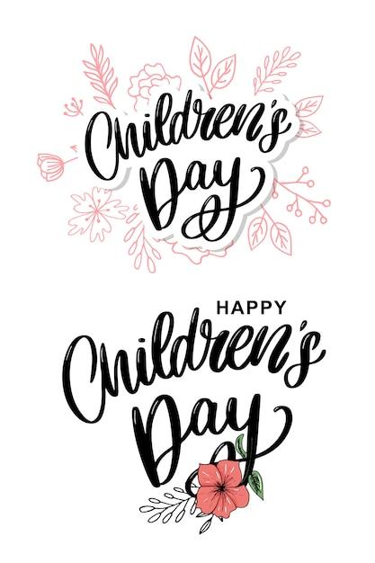 Kinderdag belettering met bloemen Premium Vector