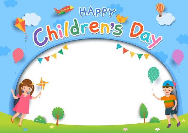 Kinderdag buiten Premium Vector