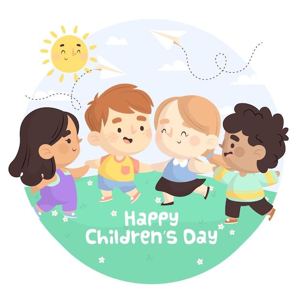 Kinderdag in plat ontwerp Gratis Vector