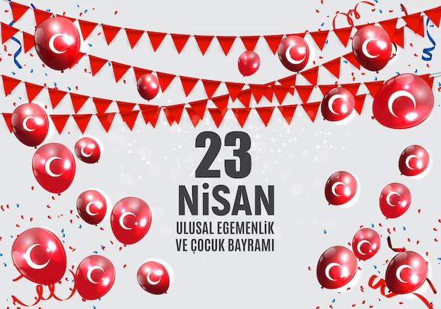 Kinderdag turks spreek, cumhuriyet bayrami. Premium Vector