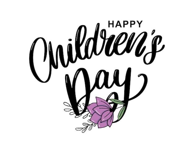 Kinderdag vector belettering. happy children's day titel. happy children's day inscriptie. Premium Vector