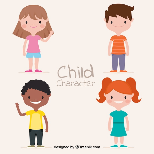 Kinderdag vector met platte kinderen Gratis Vector