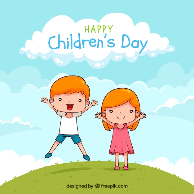 Kinderdagontwerp met springende jongen Gratis Vector