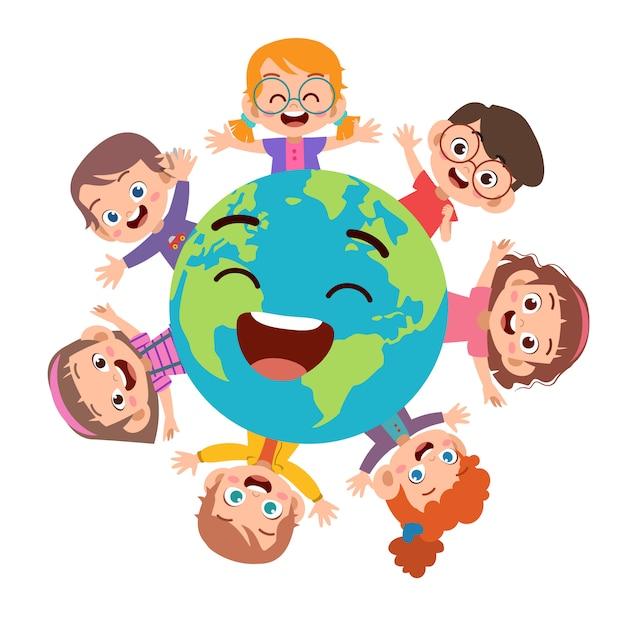 Kinderen aarde dag illustratie Premium Vector