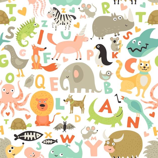 Kinderen alfabet naadloos patroon Gratis Vector