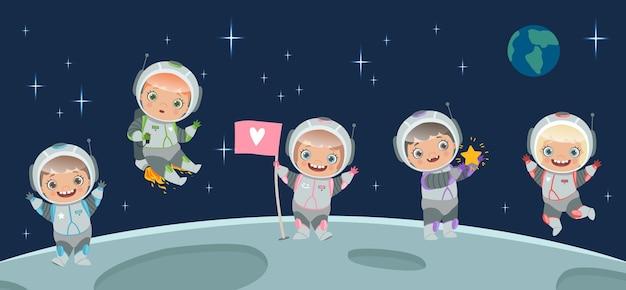 Kinderen astronaut op de maan. ruimte achtergrond illustratie. cartoon karakter kinderen in ruimtepak, ruimtereis Premium Vector