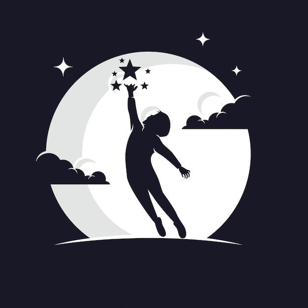 Kinderen bereiken sterren silhouet tegen maan Premium Vector