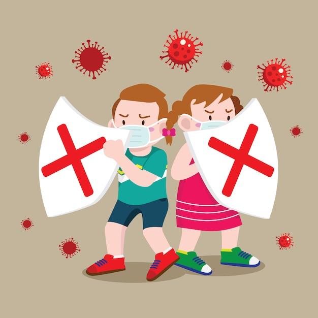 Kinderen beschermen met schild tegen coronavirus Premium Vector
