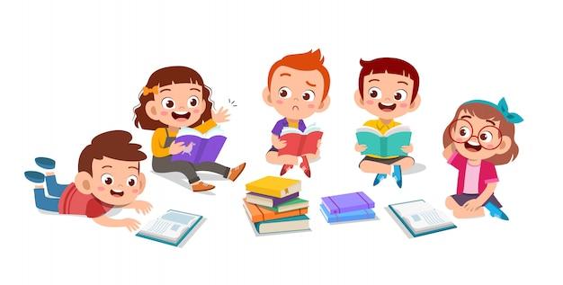Kinderen bespreken huiswerk Premium Vector