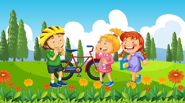 Kinderen bij ourdoor natuur achtergrond Gratis Vector