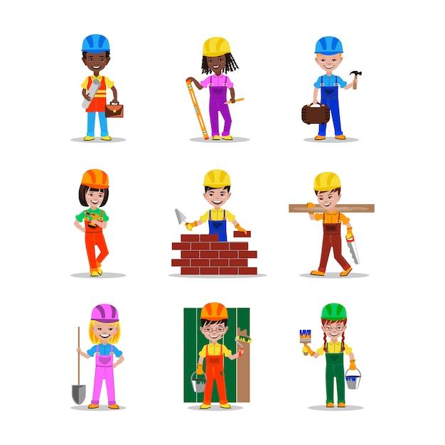 Kinderen bouwers tekens vector illustratie Premium Vector