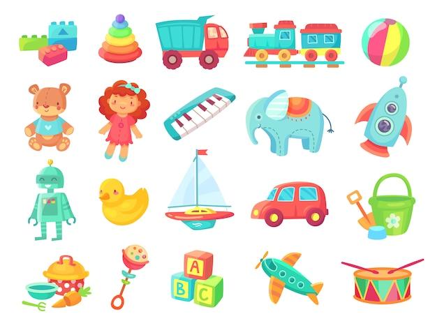 Kinderen cartoon speelgoed. babypop, trein op spoorweg, bal, auto's, boot, jongens en meisjespret geïsoleerd plastic stuk speelgoed Premium Vector