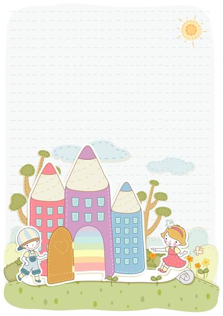 Kinderen clipart vector illustratie ontwerpsjabloon Premium Vector