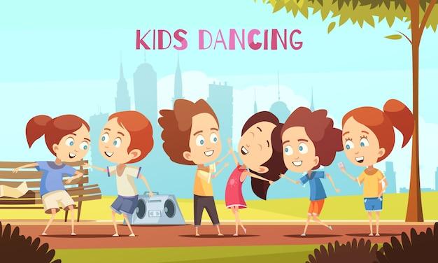 Kinderen dansen vectorillustratie Gratis Vector