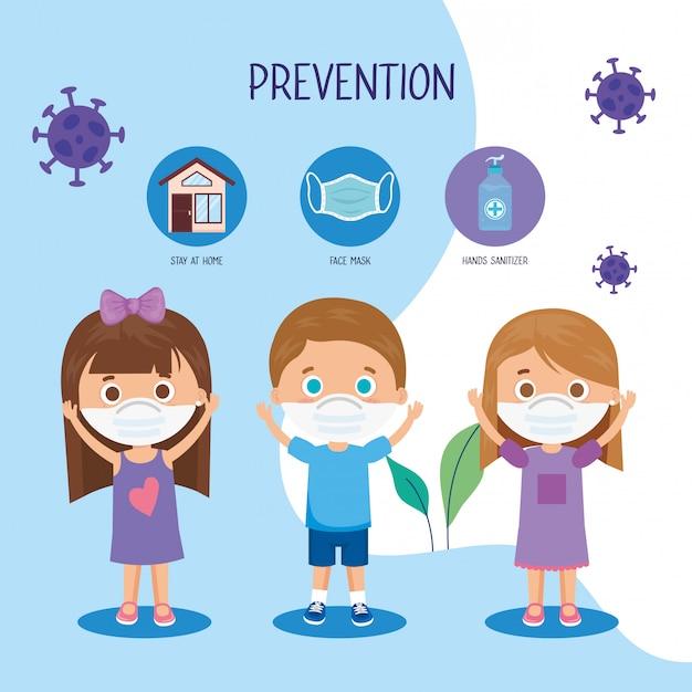 Kinderen die gezichtsmasker gebruiken met campagnepreventie 2019 ncov-illustratieontwerp Gratis Vector