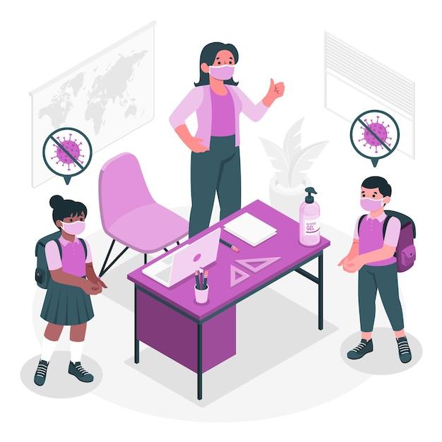 Kinderen die handdesinfecterend middel gebruiken op de illustratie van het schoolconcept Gratis Vector