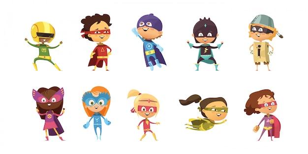 Kinderen die kleurrijke kostuums van verschillende geïsoleerde superheroes retro reeks dragen Gratis Vector