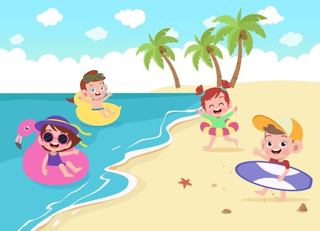Kinderen die op de strandillustratie spelen Premium Vector