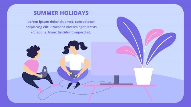 Kinderen die playstation spelen die op vloer thuis voor tv zit. zomervakantie Premium Vector