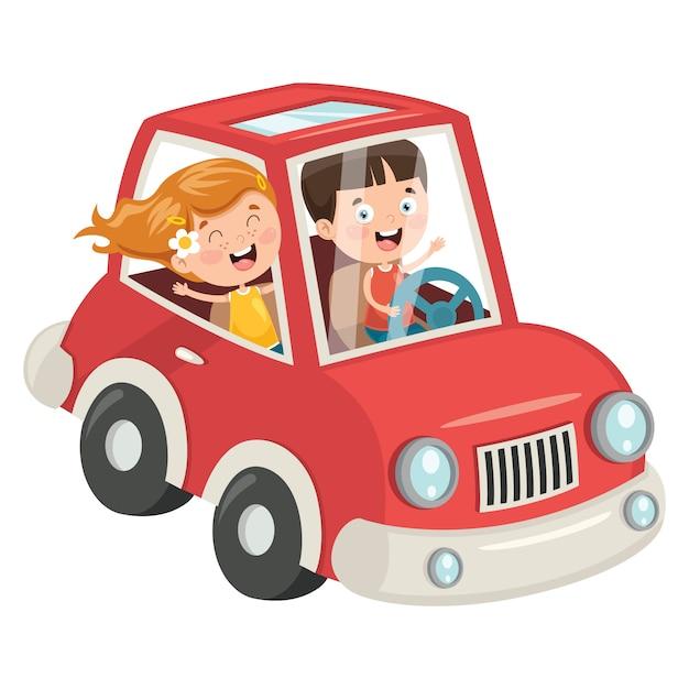 Kinderen die reizen met een grappige auto Premium Vector
