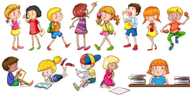 Kinderen die verschillende activiteiten ondernemen Gratis Vector