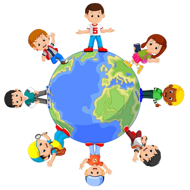 Kinderen die zich op wereldbol bevinden | Premium Vector