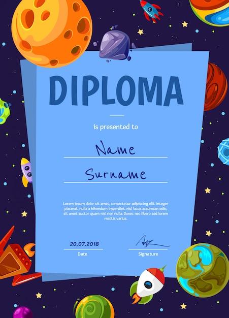 Kinderen diploma of certificaatsjabloon met met cartoon ruimte planeten en schip ingesteld Premium Vector