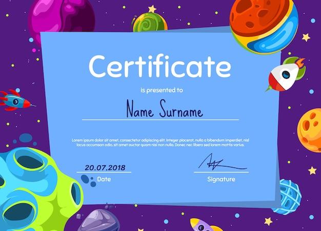 Kinderen diploma of sertificate sjabloon met met cartoon ruimte planeten en schip ingesteld Premium Vector