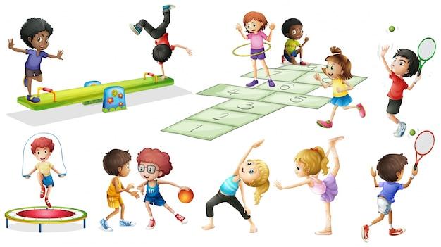 kinderen doen verschillende sporten en spellen vector gratis download. Black Bedroom Furniture Sets. Home Design Ideas