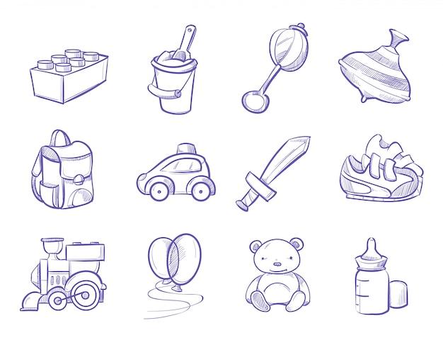 Kinderen doodle speelgoed en poppen Premium Vector
