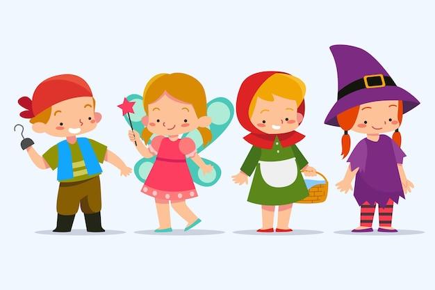 Kinderen dragen carnavalskostuums van boekhelden Gratis Vector
