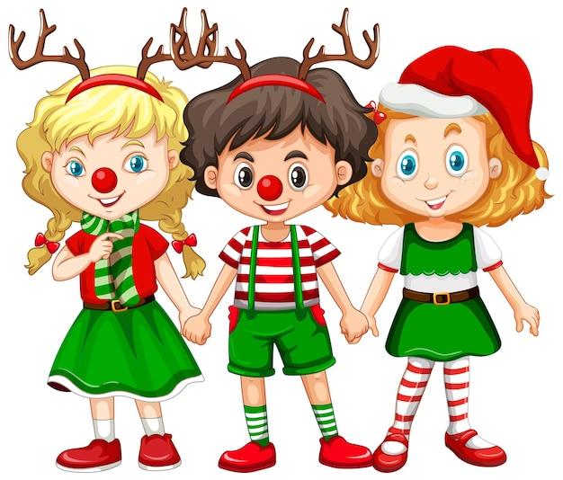 Kinderen dragen een hoofdband van rendieren en een kerstkostuum met rode neus Gratis Vector