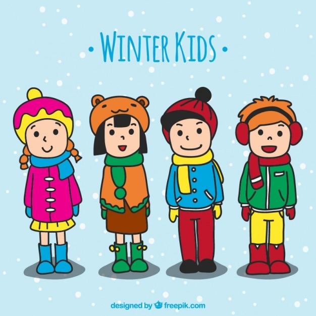 Kinderen dragen handgetekende winterkleren Gratis Vector