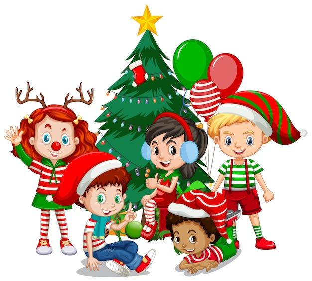 Kinderen dragen kerst kostuum stripfiguur met kerstboom op witte achtergrond Premium Vector
