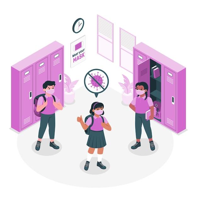 Kinderen dragen maskers op school concept illustratie Gratis Vector