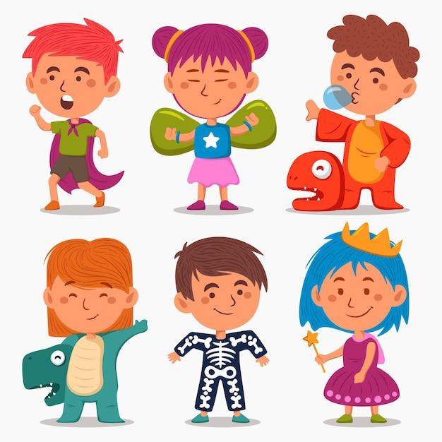 Kinderen dragen verschillende carnavalskostuums Gratis Vector