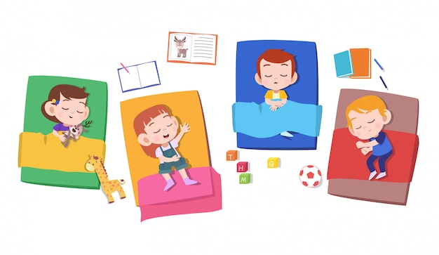 Kinderen dutje slapen Premium Vector